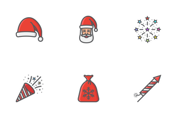 Christmas And New Year Filled Outline Icon Pack