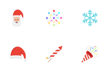 Christmas And New Year Flat Icons Icon Pack