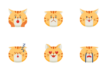 Chubby Cat Emoticon Icon Pack