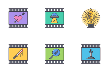 Cinema Filled Outline Icon Pack