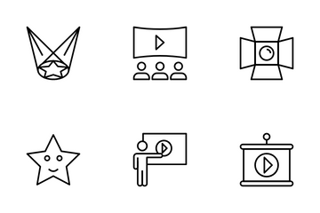 Cinema Hall And Movie Making Icon Pack