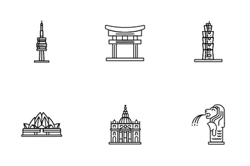 Cities, Destinations And Monuments Icon Pack