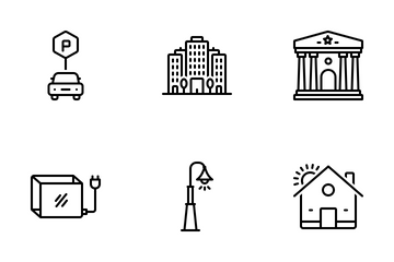 City Elements 02 Line Icon Pack