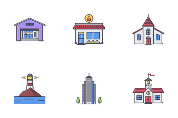 City Filled Outline Icon Pack