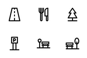 City Icon Set Outline Icon Pack