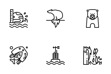 Climate Change And Global Warming Icon Pack