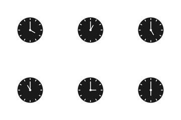 Clocks Glyph Icon Pack