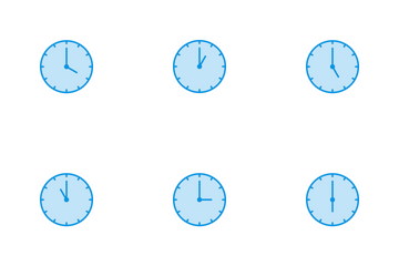 Clocks Line Blue Icon Pack