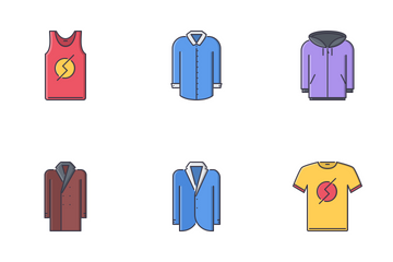 Clothes Filled Outline Icon Pack