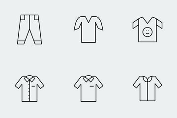 Cloths Thin Line Icons Icon Pack