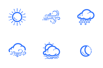 Clouds And Precipitation (Outline) Icon Pack