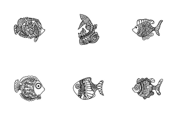 Clown Fish Drawing Icon Pack