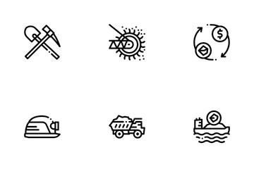 Coal Mining Equipment Icon Pack