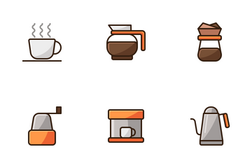 Coffee Cafe (filled Line) Icon Pack