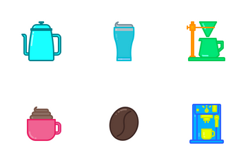 Coffee Shop (filled Line) Icon Pack