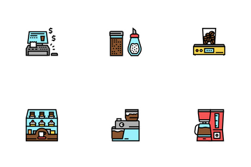 Coffee Shop Equipment Icon Pack