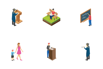 College University Students Icon Pack