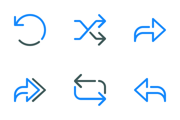 Colored Line Arrow Icon Pack