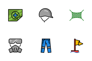 Colored Outline Safety Item Icon Pack