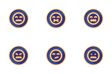Colourful Emoji Badges Dotted Smiles Icon Pack