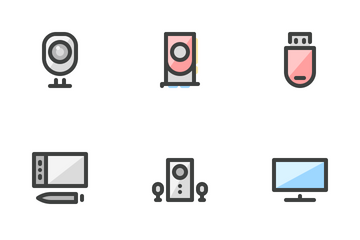 Computer Hardware (filled Outline) Icon Pack