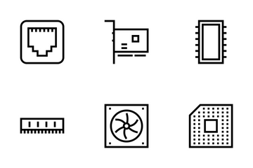 Computer Hardware Line Icons Icon Pack