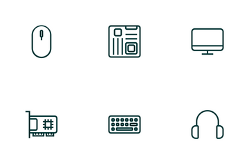 Computer & Hardware (Outline Green) Icon Pack