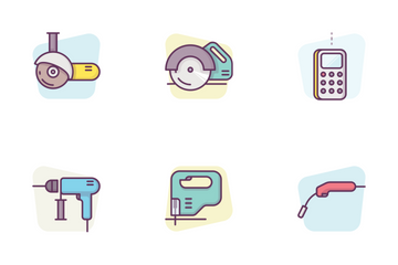 Construction Electrical Tools With Background Icon Pack