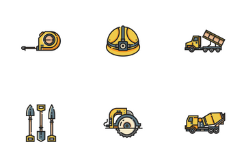 Construction Tool Line Color - Foreman Equipment Icon Pack