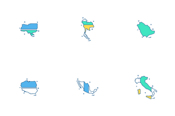 Countries Map Icon Pack