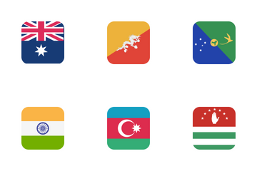 Country Flag Color Squre Redious Icon Pack