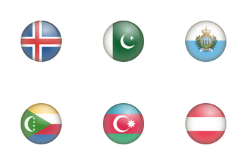Country Flag Glass Icon Pack