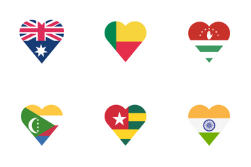 Country Flag Heart Icon Pack