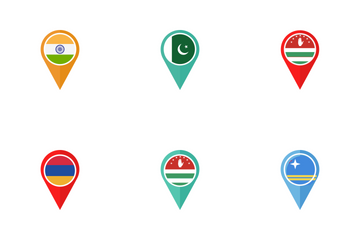 Country Flag Map Location Icon Pack