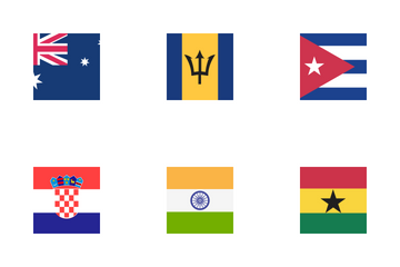 Country Flag Squre  Color Icon Pack