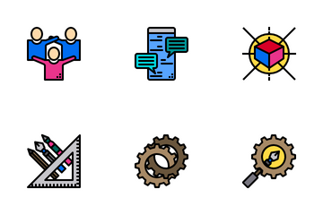 Creative Process Color Line Icon Pack