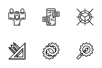 Creative Process Outline Icon Pack
