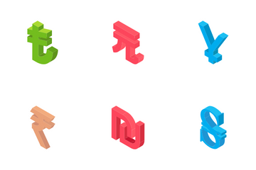 Currency Signs - Isometric Icon Pack