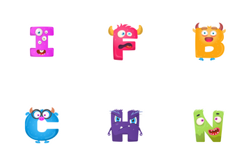 Cute Alphabets And Numbers Monsters Icon Pack