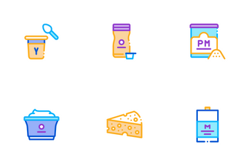 Dairy Drink And Food Icon Pack