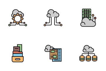 Data Sharing And Cloud Icon Pack