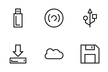 Data Storage Line Icons Icon Pack