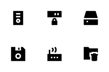 Data Storage, Server And Transfer Icon Pack