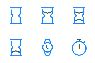 Date And Time Colored Line Icon Pack