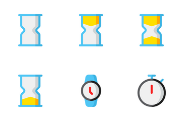Date And Time Flat Icon Pack