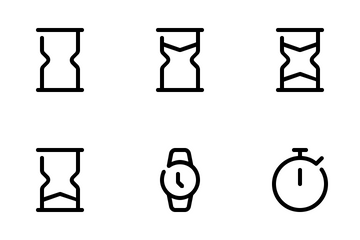 Date And Time Line Icon Pack