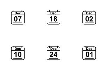 December  Calendar 2017 Line Icon Pack