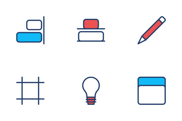 Design Color Style Red And Blue Icon Pack