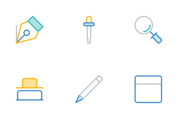 Design Color Style Yellow And Blue Icon Pack