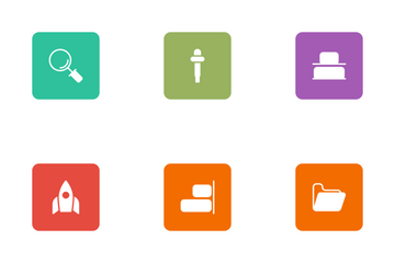 Design Flat Square Rounded  Icon Pack